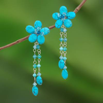 Floral earrings, 'Blossom Blessing' - Floral Turquoise Colored Earrings