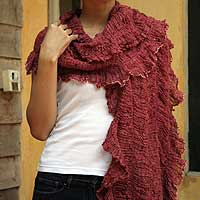 Cotton scarf, 'Bold Red Chic' - Cotton scarf