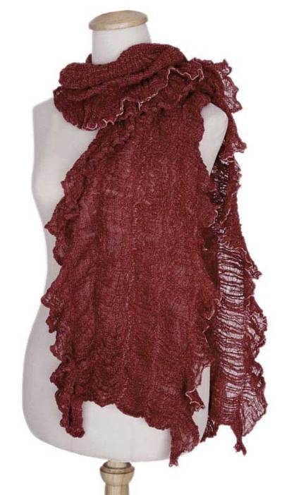 Handcrafted Burgundy Crocheted Cotton Frilly Knit Scarf