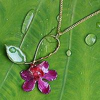 Natural orchid gold-plated flower necklace, 'Sublime' - Artisan Crafted Natural Flower Pendant Necklace