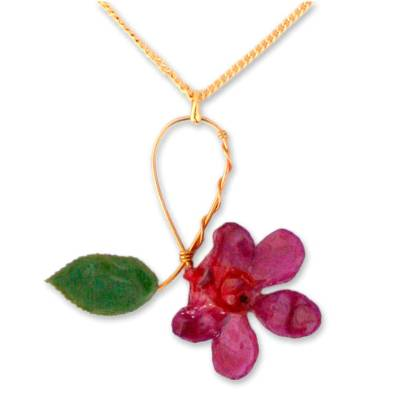Artisan Crafted Natural Flower Pendant Necklace