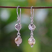 Rutile quartz dangle earrings, 'Floral Rapture' - Rutile quartz dangle earrings