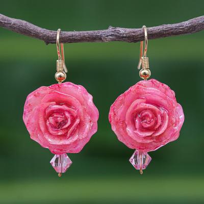 Natural rose flower earrings, 'Timeless Pink' - Natural Flower Dangle Earrings