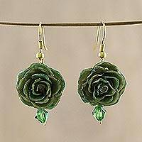Natural rose flower earrings, 'Timeless Green' - Natural rose flower earrings