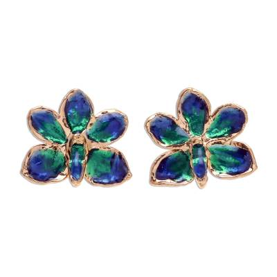 Natural orchid gold-plated flower earrings