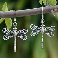 Sterling silver dangle earrings, 'Wings of Love' - Sterling Silver Dragonfly Earrings
