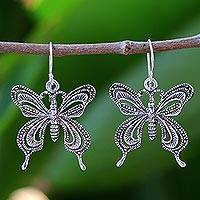Sterling silver dangle earrings, 'Whisper of Love' - Unique Sterling Silver Dangle Earrings