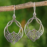 Sterling silver dangle earrings, 'Lotus Lace' - Silver Celtic Hoop Earrings