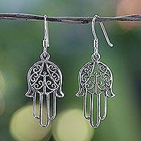 Sterling silver dangle earrings, 'Chimes' - Hand Made Sterling Silver Dangle Earrings