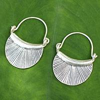 Silver hoop earrings, 'Diva' - Silver Crescent Earrings