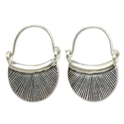 Handmade Thai Fine Silver Hoop Earrings