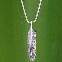 Sterling silver pendant necklace, 'Flight' - This Is a Unique, Handcrafted Sterling Silver Necklace.