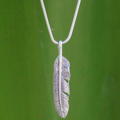 Sterling silver pendant necklace, 'Flight' - Unique Sterling Silver Pendant Necklace