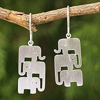 Sterling silver dangle earrings, 'Elephant Stack' - Fair Trade Sterling Silver Thai Elephant Dangle Earrings