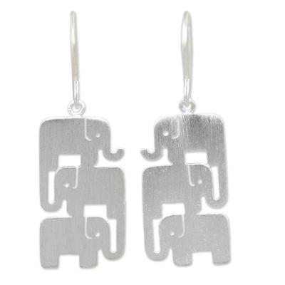 Sterling silver dangle earrings, 'Elephant Stack' - Sterling Silver Dangle Earrings