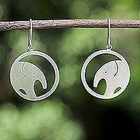 Sterling silver dangle earrings, 'Modern Elephant' - Unique Sterling Silver Dangle Earrings