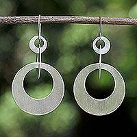 Sterling silver dangle earrings, 'In Circles'
