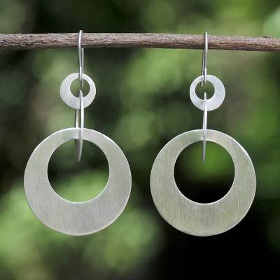 Sterling silver dangle earrings, 'In Circles' - Hand Made Sterling Silver Dangle Earrings