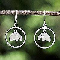 Sterling silver dangle earrings, 'Elephant Circle' - Unique Sterling Silver Dangle Earrings