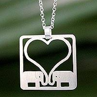 Sterling silver pendant necklace, 'Jumbo Love'