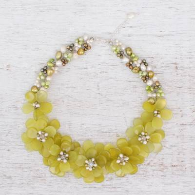 Pearl and serpentine flower necklace, 'Elixir' - Pearl and Serpentine Flower Necklace