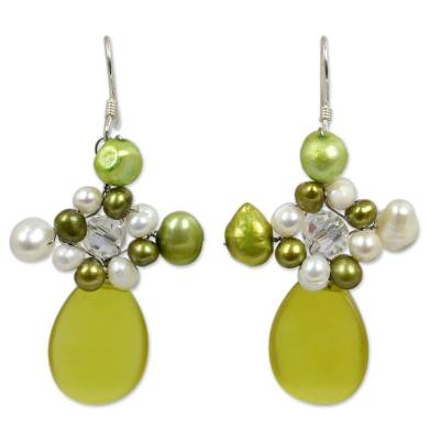 Serpentine and Pearl Dangle Earrings