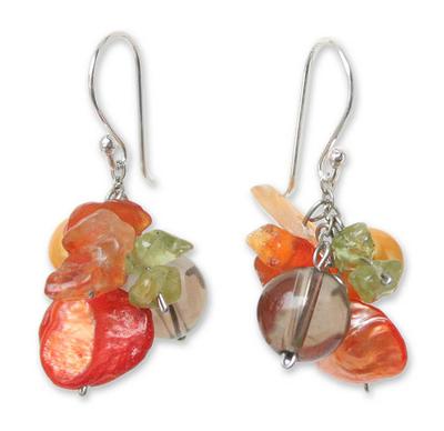 Pearl and peridot cluster earrings,