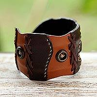 Leather cuff bracelet, 'Chestnut Buttons' - Unique Leather Cuff Bracelet