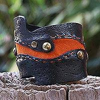 Leather bracelet, 'Dark Chocolate' - Thai Leather Cuff Bracelet