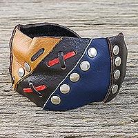 Leather cuff bracelet, 'Seafarer'
