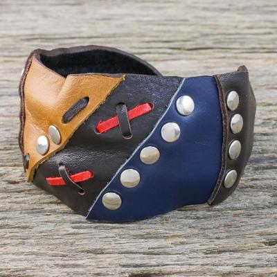 Leather cuff bracelet, 'Seafarer' - Leather cuff bracelet