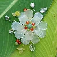 Prehnite and serpentine brooch pin, 'Lime Blossom' - Unique Stainless Steel Multigem Womens Brooch Pin