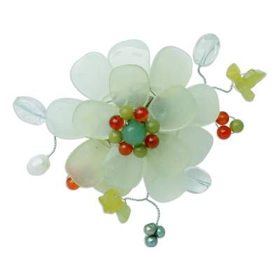 Prehnite and serpentine brooch pin, 'Lime Blossom' - Prehnite and Serpentine Brooch Pin