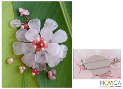 Pearl and rose quartz brooch pin, 'Apple Blossom' - Floral Multigem Rose Quartz Brooch Pin