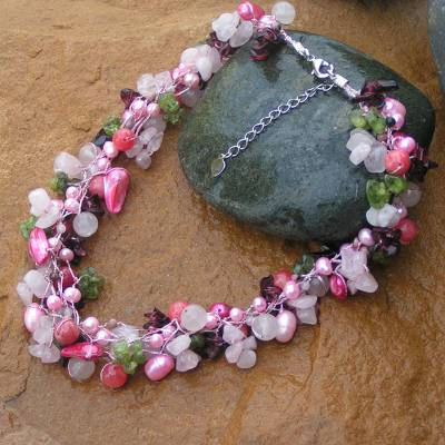 Multi-gemstone beaded necklace, 'Heritage' - Pearl and rose quartz beaded necklace