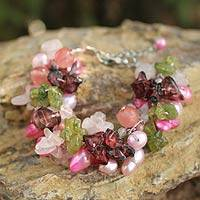 Pearl and rose quartz beaded bracelet, 'Heritage' - Hand Crafted Beaded Multigem Bracelet from Thailand