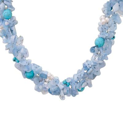 Beaded Aquamarine Necklace from Thailand
