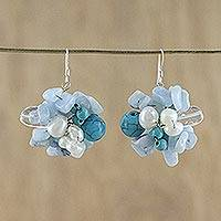Pearl and aquamarine cluster earrings, 'Sensation' - Handcrafted Multigem Beaded Womens Cluster Dangle Earrings