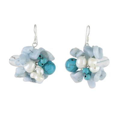 Handcrafted Aquamarine and Pearl Dangle Earrings