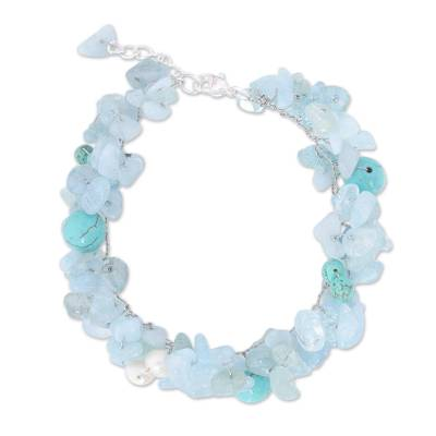 Beaded Aquamarine and Pearl Bracelet