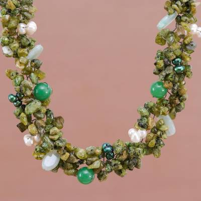 Pearl and peridot choker, 'Lime Sensation' - Peridot and Quartz Choker