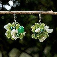 Pearl and peridot cluster earrings, 'Lime Sensation' - Peridot and Pearl Beaded Earrings