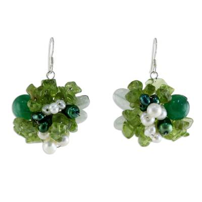 Peridot and Pearl Beaded Earrings