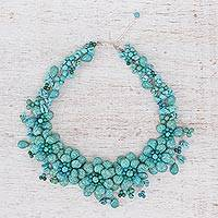 Beaded choker, 'Floral Delight' - Beaded Floral Turquoise Necklace