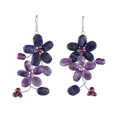 Amethyst and Lapis Lazuli Flower Earrings
