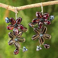 Garnet and smoky quartz earrings, 'Blossoming' - Garnet and Quartz Flower Earrings
