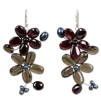 Garnet and Quartz Flower Earrings