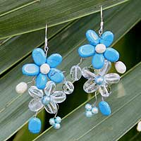 Pearl and quartz dangle earrings, 'Blossoming Blue' - Beaded Turquoise Colored Earrings