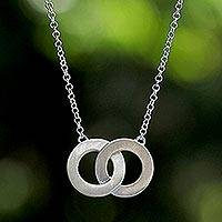 Sterling silver two circle pendant necklace, 'Infinity Love' - Sterling Silver Pendant Necklace