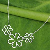 Sterling silver pendant necklace, 'Flower Power'